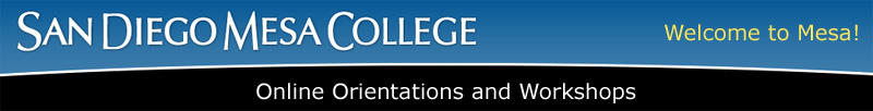 Mesa College international students online orientation banner graphic